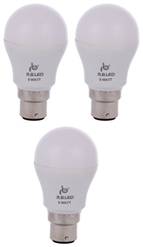 RB 5W B22 LED Bulb (Pack of 3, Cool Day Light)