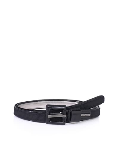 Calvin Klein Women's Corduroy Suede Panel Belt  – Black