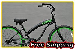 Free Shipping! Fito Modena Sport 1-speed Women - Black/Neon Green, 26