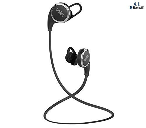 aelec® QY8 V4.1 Bluetooth Headphones Wireless Earphones Sweatproof Sport Earbuds Headsets Noise Cancelling For Iphone for Samsung for Ipad for Running hiking cycling Black