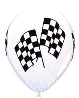 12 Checkered Racing Flag Balloons by Qualatex