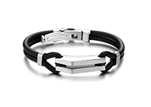 "Stainless Steel and Rubber Bracelet ""Broome"" - Silver Steel Finishing - The British Bulldog Store"
