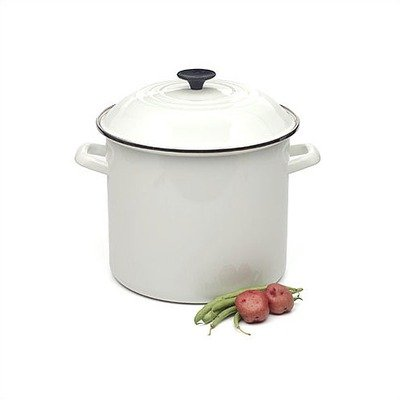 Le Creuset Enamel-on-Steel 6-Quart Covered Stockpot, White (White Cast Iron Pot compare prices)