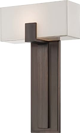 Wall Sconce Rough In Height : George Kovacs P1704-647, Wall Sconces Glass Wall Sconce Lighting, 1 Light, Copper Bronze ...