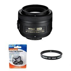 Nikon 35mm f/1.8G AF-S DX Lens for Nikon Digital SLR Cameras 2183 with 52mm Multicoated UV Protective Filter