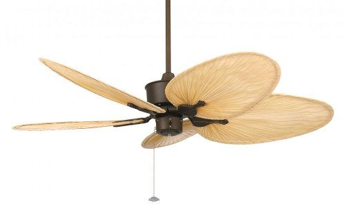 Fanimation FP320OB-ISD1A Islander Oil-Rubbed Bronze Ceiling Fan with Antique Finish Woven Bamboo Wide Oval Blades