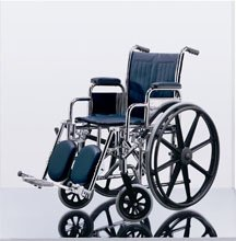"Medline Excel Narrow Wheelchair, 16"", Permanent Full-Length Arms, Swing Away Detachable Elevating Leg Rests Excel Narrow Wheelchair. Seat 16""W X 16""D; Blue, Vinyl Upholstery, Permanent Full-Length Arms And Swing Away, Detachable Elevating Leg Rests MDS806200N"