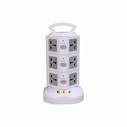 QOCOO 12 Outlet Smart Home Office Surge Protector Outlet Socket Power Strip With Retractable Cable US Plug 2 USB Outputs for iPhone Plus iPad Mini Samsung Galaxy and Phone Charging Station GRAY