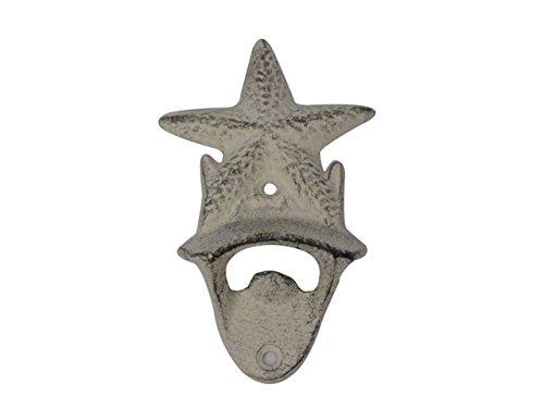 Hampton Nautical  Whitewashed Cast Iron Wall Mounted Starfish Bottle Opener 6