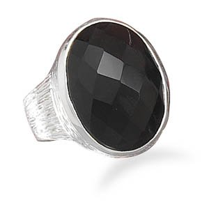 Sterling Silver Oval Faceted Black Onyx Ring / Size 9