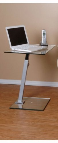 "Glass and Metal Laptop Stand End Table (Clear and Silver) (27.5""H x 23.5""W x 15.75""D)"