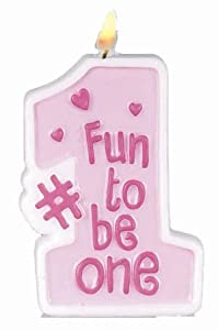 Fun to be One Party Accessory (Pink) Girl's 1st Birthday Candle (1 count) from AMSCAN *