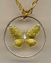 Beautifully Cut out & 2-toned Philippines Butterfly - coin Necklace