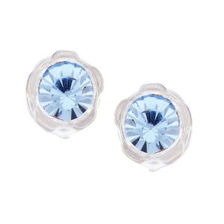 Flower Crystal Stud Earrings For Children & Babies with Blue Quartz Crystal