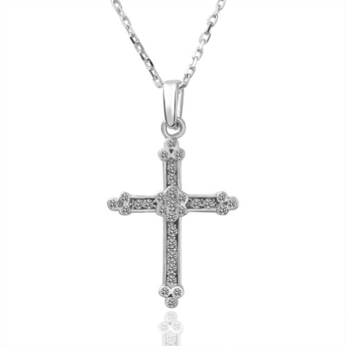 Virgin Shine Fashion Silver-Plate Cross Pendant Necklace With Rhinestone