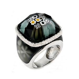 Sterling Silver Black Millefiori Murano Glass Domed Right Hand Ring (Nickel Free)