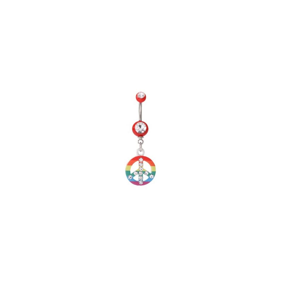 Clear CZ Peace Rainbow Dangling Red Acrylic Belly Button Navel Ring