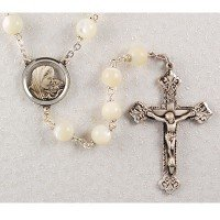 Pewter 8mm Bead Mother of Pearl Rosary, Boxed.
