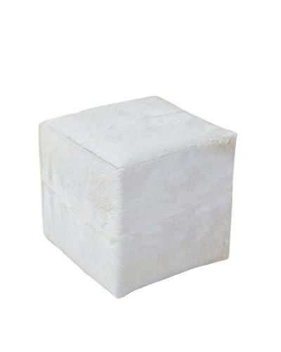 Jeffan Safari Square Pouf Stool, White