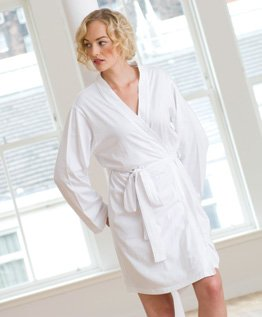 Ladies Cotton Robe White - Size 12/14
