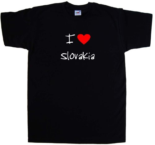 I Love Heart Slovakia Black T-Shirt (White print)-XXXX-Large