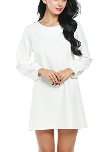 ACEVOG Women's Plain Long Sleeve Shift Dress (Medium, White)