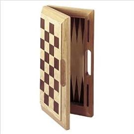 Deluxe (Oak) Wooden Chess, Checkers & Backgammon Set (Oversized)