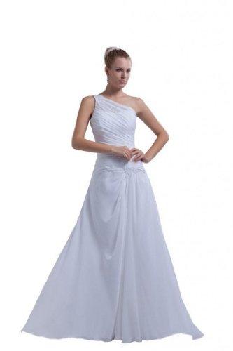 Dearta Women'S A-Line One-Shoulder Court Train Wedding Dress Us 16 Ivory