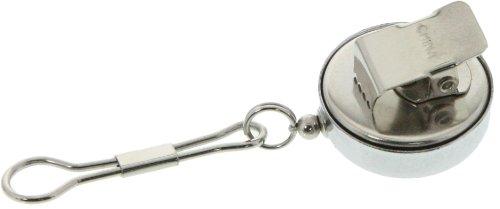 SE - Pull Key Reel - Clip-on, Chrome, Metal Cord, .75in. Dia. - 202JCC