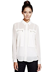 Limited Edition No Peep™ Zip Pocket Blouse
