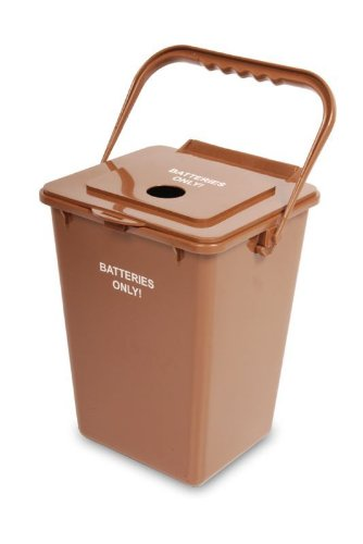 Battery Recycling Bin, 2.4 Gallon, Brown Image