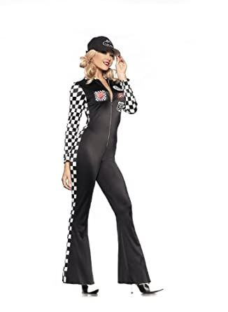 Be Wicked Costumes Women's Sexy Car Racer Costume, Black/White, Small/Medium