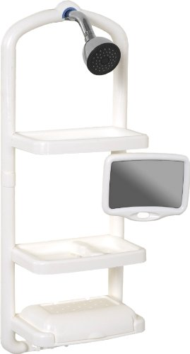 Zenith Premium Over The Shower Head Shower Caddy With Swivel Mirror, White front-715295