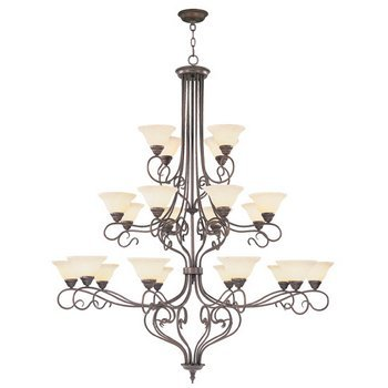 Livex Lighting 6189-58 Chandelier with Vintage Scavo Glass Shades, Imperial Bronze