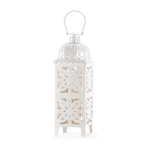 Gifts & Decor Medallion Cutout Giant Size White Candle Holder Lantern