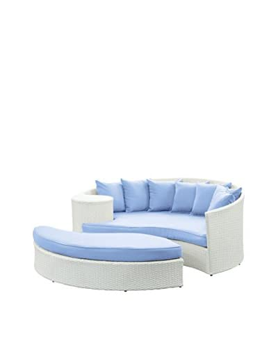 Modway Taiji Outdoor Patio Daybed, White/Light Blue