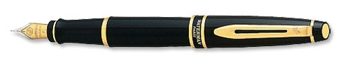 Waterman Expert Fountain Pen Black Laquer with 2-Tone Gold-plated Nib and Gold Trim Ref S0701260