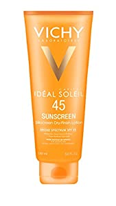 Vichy Capital Soleil SPF 45 Silkscreen Dry-Finish Sunscreen Lotion for Face and Body with Antioxidants