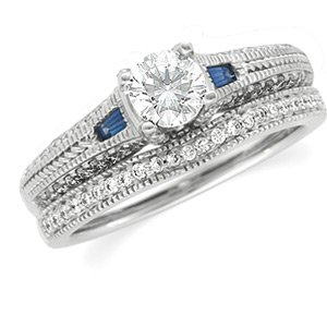 Ann Harrington Jewelry 14K White Gold 1/4 Ct Tw Diamond And Genuine Blue Sapphire Antique Style Engagement Ring, 5.2 Mm (For 1/2 Ct) Semi Setting