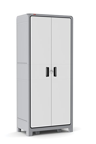 Keter Optima Wonder 72 x 31 x 18 in. Free Standing Plastic Tall Storage Cabinet with 4 Adjustable Shelves, White & Grey (Resin Storage Shelves compare prices)