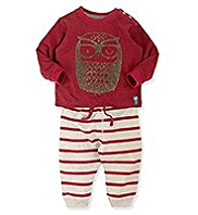 2 Piece Cotton Rich Owl Print Striped Top & Joggers Outfit
