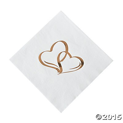 Gold Two Hearts Luncheon Napkins