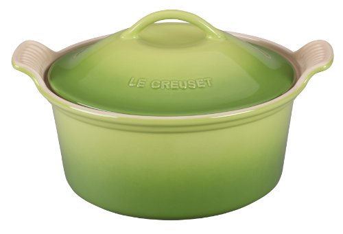Le Creuset Stoneware Heritage Covered Round Casserole, 3-Quart, Palm