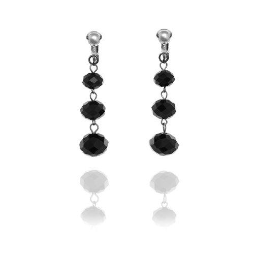 Triple Faceted Bead Drop Clip On Earrings - Black