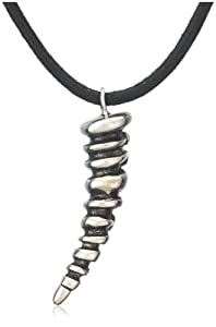Sterling Silver Textured Horn-Shaped Pendant Necklace by Catherine M. Zadeh, 24""