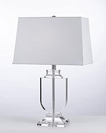 Crystal Urn Table Lamp With White Shade Modern Glass Contemporary Modern Lamp Desk Bedside