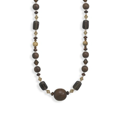 Sterling Silver 16 + 2 Inch Extension Multi Stone and Wood Bead Necklace