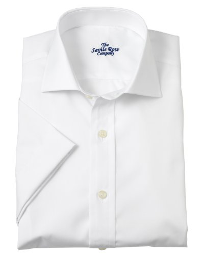 Savile Row Mens White Slim Fit Short Sleeve Formal Shirt Collar Size 17.5