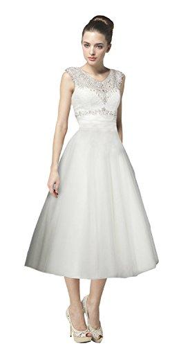 Swan Mate Modest V-Neckline Sleeveless Beading Tea Length Ball Gown