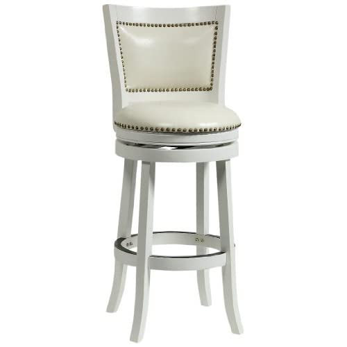 Boraam 42429 Bristol Bar Height Swivel Stool, 29-Inch, White